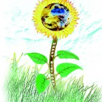Happy Birthday Sunflower with Earth Inside