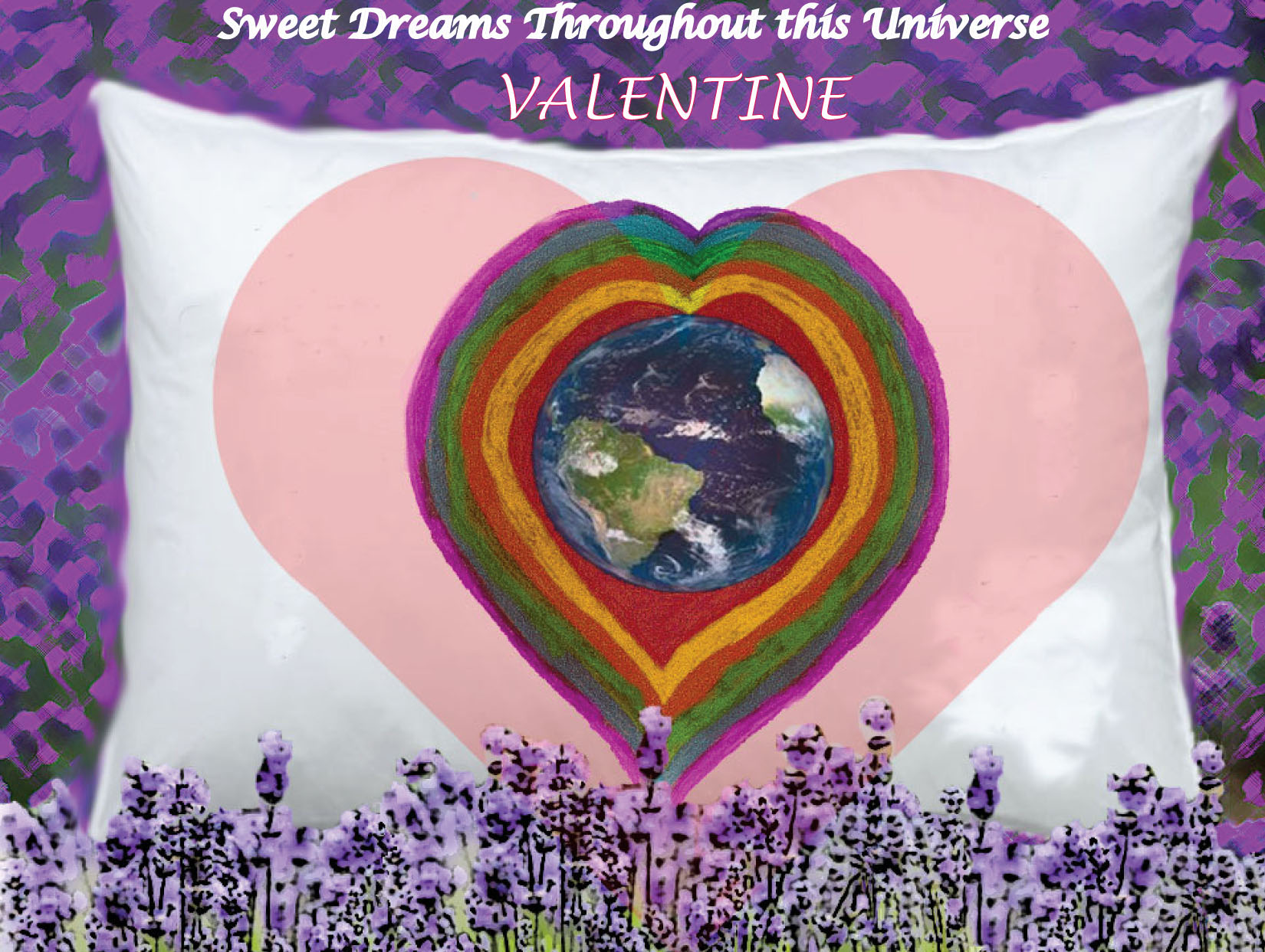 lavender pillow VALENTINE ront and back