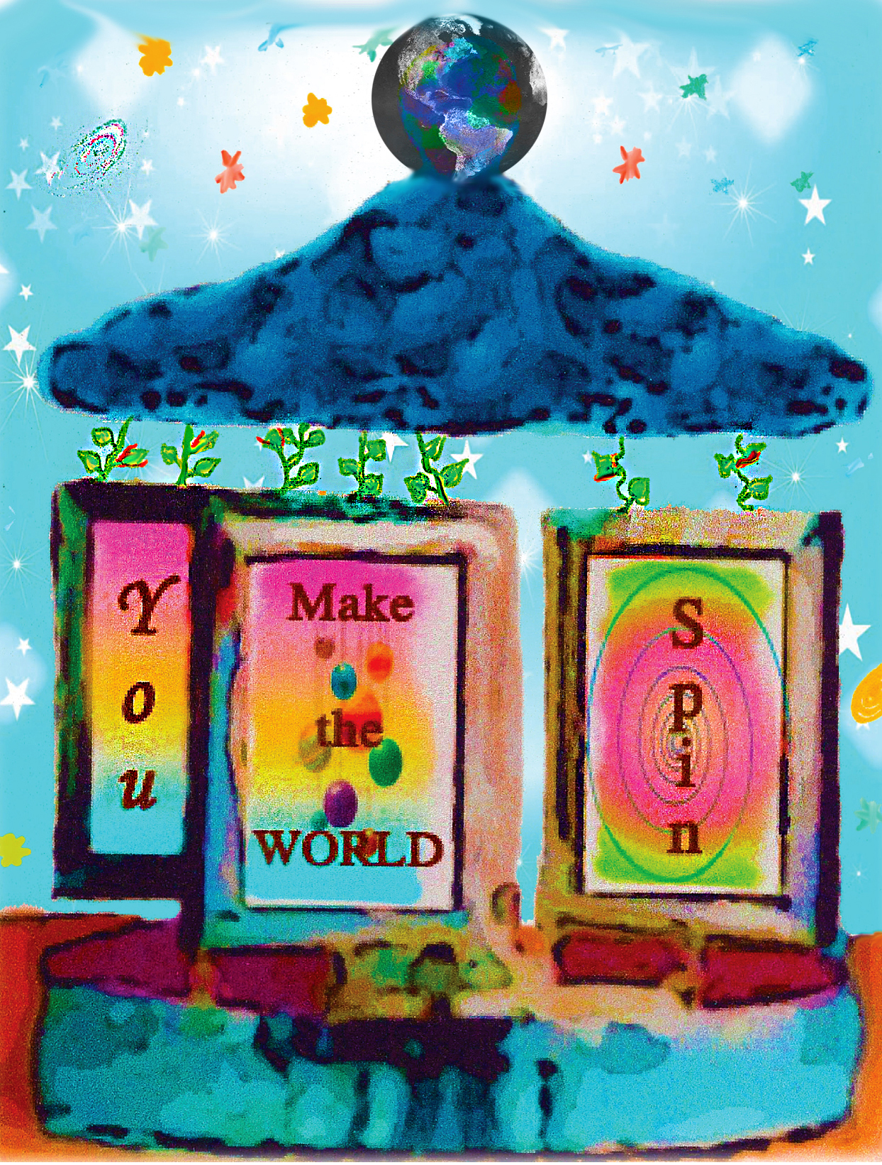 Carousel You Make The World Spin Greeting Card Earth Love Now
